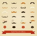 Vector colorful mustache icon set moustache and lips illustration Royalty Free Stock Image