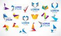 Vector colorful origami icon set. Design elements Royalty Free Stock Photo