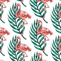 Vector colorful pattern with hand drawn illustration of flamingo with palm leaves.