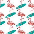 Vector colorful pattern with hand drawn illustration of flamingo on surfboard.