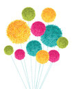 Vector Colorful Pom Poms Bouquet Decorative Element. Great for nursery room, handmade cards, invitations, baby designs.