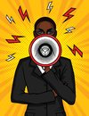 Vector colorful pop art comic illustration of an african american girl with a loudspeaker in her hand. Royalty Free Stock Photo