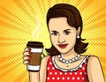Vector colorful pop art comic style illustration of a pretty woman in red dress drinking a coffee. Royalty Free Stock Photo