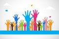Vector Colorful Raised Hands Royalty Free Stock Photos