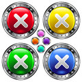 Vector of colorful round close or x button Royalty Free Stock Photography