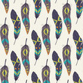 Vector colorful seamless ethnic pattern with decorative feathers