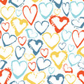 Vector colorful seamless pattern with brush strokes hearts. Summer fantasy . Rainbow color on white background. Hand Royalty Free Stock Photo