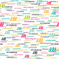 Vector colorful seamless pattern with brush strokes letter. Summer fantasy . Rainbow color on white background. Hand Royalty Free Stock Photo