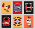 Vector colorful set of modern fitness templates with hands, dumbbells, weight and motivational phrases