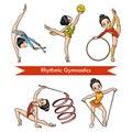 Vector set of rhythmic gymnastics. Cartoon girl Royalty Free Stock Photo