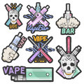 Vector colorful set of vape bar stickers, banners, logos, labels, emblems or badges. Vintage style electronic cigarette