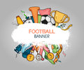 Vector colorful soccer design composition with white grunge banner Royalty Free Stock Photo
