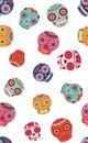Vector colorful sugar skulls seamless pattern background.