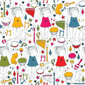 Vector colorful on white seamless illustration with cute dancing girl, musical instruments, cat, flowers, doodle shapes. Square ha