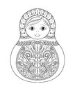 Vector coloring book for adult and kids - russian matrioshka doll. Hand drawn zentangle with floral and ethnic ornaments Royalty Free Stock Photo