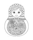 Vector coloring book for adult and kids - russian matrioshka doll. Royalty Free Stock Photo
