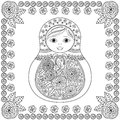 Vector coloring book for adult and kids - russian matrioshka doll. Hand drawn zentangle Royalty Free Stock Photo
