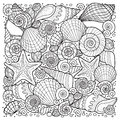 Vector coloring book for adult, for meditation and relax. Backgroun of sell, anchors, shells, stones and sand. Black and white ima