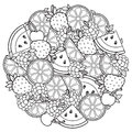 Vector coloring book for adult, for meditation and relax. Round shape of watermelon, strawberries, citrus, cherries and strawberri