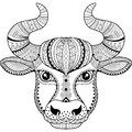 Vector coloring book for adult. Silhouette of bull isolated on white background. Zodiac sign Taurus. Abstract background animal pr