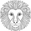 Vector coloring book for adult. Silhouette of lion isolated on white background. Zodiac sign leo. Abstract background animal prinn