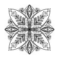 Vector coloring book for adult. Square page for relax and meditation.