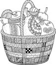 Vector Coloring book for adult. Thanksgiving day. Basket of apples.