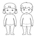 Vector coloring page of cute baby boy and girl Royalty Free Stock Photo
