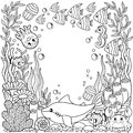 Vector Coloring printable page for child and adult. Cute sea creature on a marine background. Underwater life