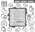 Vector colorless crossword about fruits. Word search puzzle Royalty Free Stock Photo
