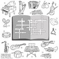 Vector colorless crossword game for children about music instru education instruments Royalty Free Stock Images