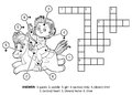 Vector colorless crossword. Little girl on a horse
