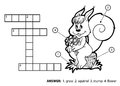 Vector colorless crossword. Squirrel sitting on a tree stump Royalty Free Stock Photo