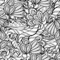 Vector colorless seamless pattern ethnic retro design in zentangle style with floral elements Royalty Free Stock Images