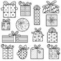 Vector colorless set of Christmas gifts