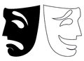 Vector Comedy and Tragedy masks in black and white
