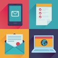 Vector communication icons in flat retro style mail message contract website adress Royalty Free Stock Photo