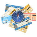 Vector compass and tickets isolated on white background Stock Photo