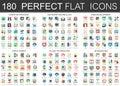 180 vector complex flat icons concept symbols of creative process, network technology, web development, video games