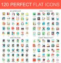 120 vector complex flat icons concept symbols of my workplace, creative process, mind process, human productivity. Web