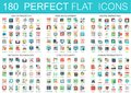 180 vector complex flat icons concept symbols of seo optimization, web development, digital marketing, network