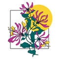 Vector composition of spring pink flowers illustration. Lonicera print background. Bithday card.