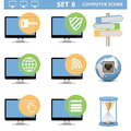 Vector computer icons set on white background Stock Images