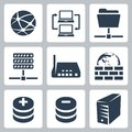 Vector computer network icons set isolated Royalty Free Stock Images