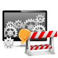 Vector computer repair with barrier on white background Royalty Free Stock Image