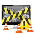 Vector computer repair with cones on white background Royalty Free Stock Images