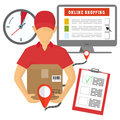 Vector concept of delivery, mobile marketing and online shopping Royalty Free Stock Photo