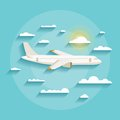 Vector concept of detailed airplane flying through clouds. Royalty Free Stock Photo