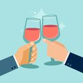 Vector concept in flat style success celebration hands holding glasses Royalty Free Stock Images