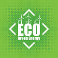 Vector concept of green energy with wind turbines